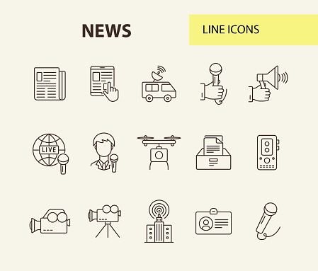Set of 12 line icons