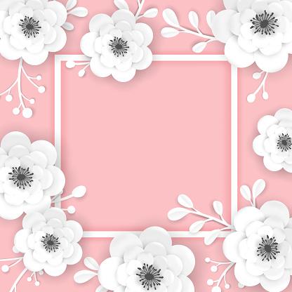 Paper Cut Flowers Frame