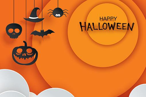 Halloween paper cut illust