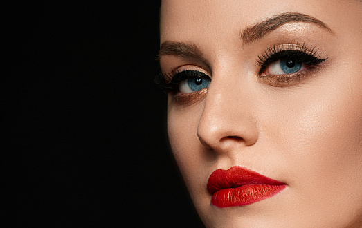 beauty, red lips and intense look