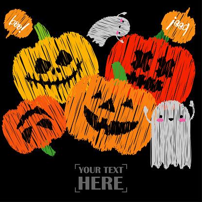Pumpkins and Kawaii ghosts