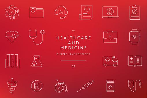 Medicine Line Icon Set