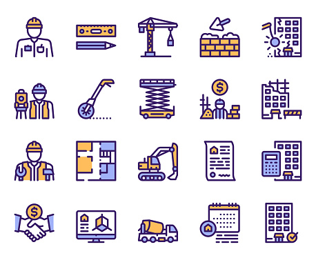 Purple linear icons set