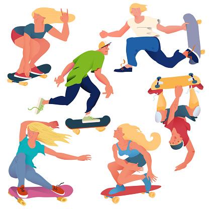 The skateboarders set