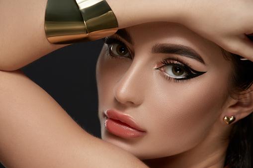 Fashion make-up closeup with eyeliner