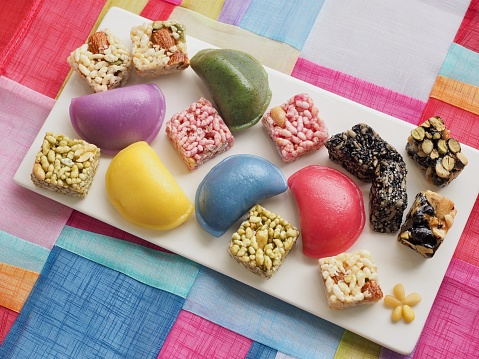 Korean food Songpyeon, half-moon-shaped rice cake, Sweet Rice Puffs, Chuseok food