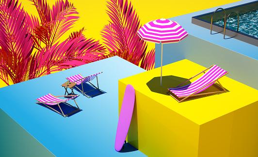 3d still life composition Vacations holidays