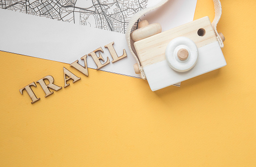 Travel concept wood camera