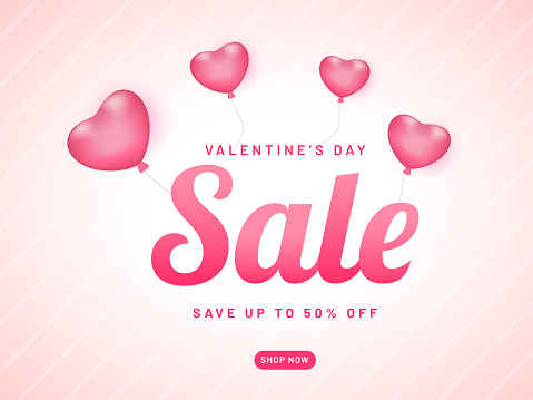 Advertising banner or poster design with 50% discount offer for Valentine's Day sale.