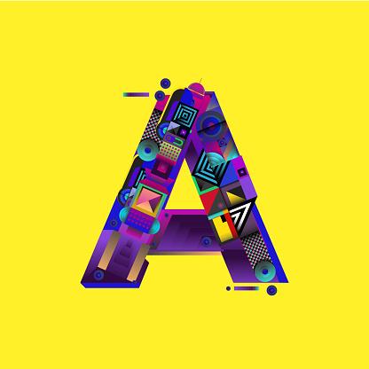 Vector colorful alphabet font