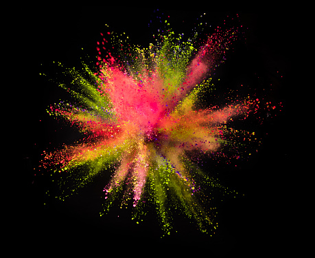 Colored powder explosion