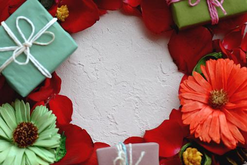 rose petals and gift box