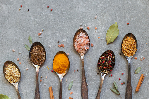 Set of various spices in spoons