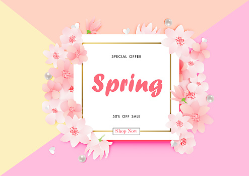 Sale background with beautiful flower