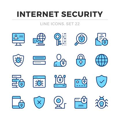 Blue line icons set
