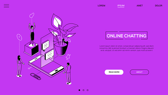 Line design style isometric web banner