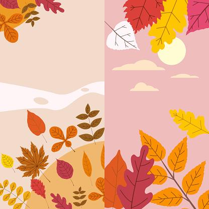 Autumn template of autumn fallen leaves