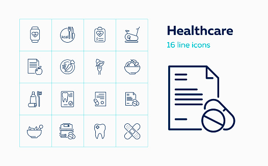 Sports and health line icon set