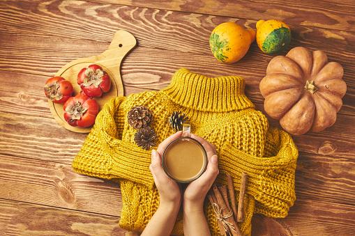 Pumpkin and coffee, knitting