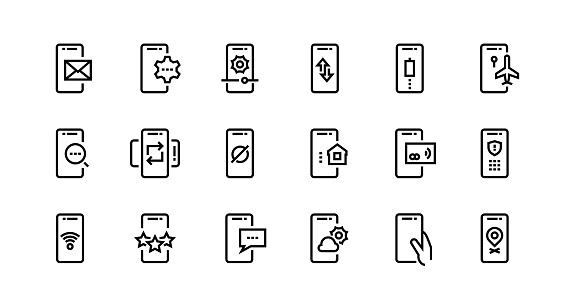 Phone line icons. Mobile device notification and adjustment, wireless pay and secure private data. Vector smartphone app set
