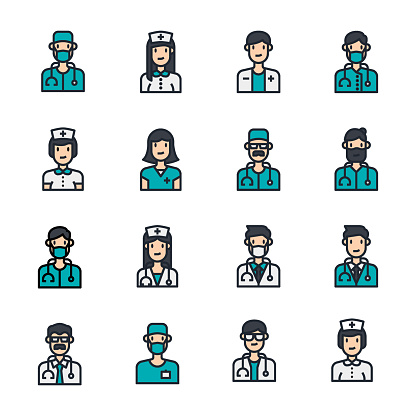 Avatar doctor people icons line color vector, medical, stethoscope, nurse