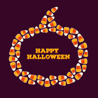 Happy Halloween inscription with pumpkin shaped frame made of small candy corns. Trick or treat concept greeting card