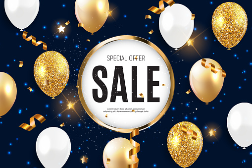 Sale banner with floating balloons