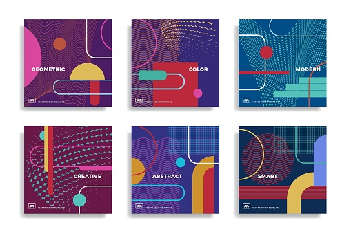 Design templates with colourful geometric shapes