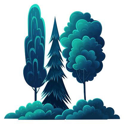 숲 속 나무 일러스트 소스