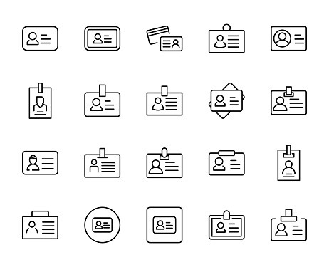 Persanal card line icon set