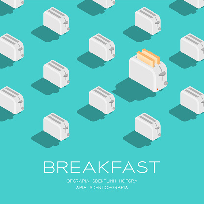 Breakfast 3D isometric pattern