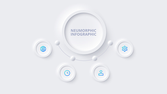 Neumorphic circle element for infographic. Template for diagram, graph, presentation and chart. Skeuomorph concept with 4 options, parts, steps or processes