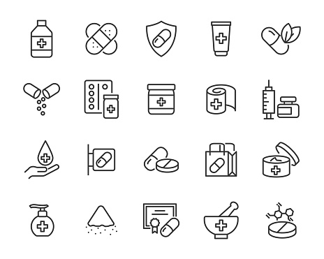 set of 20 line icons