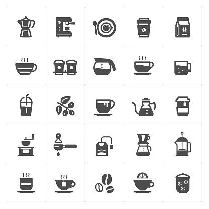 Icon set - coffee and tea filled style vector illustration on white background