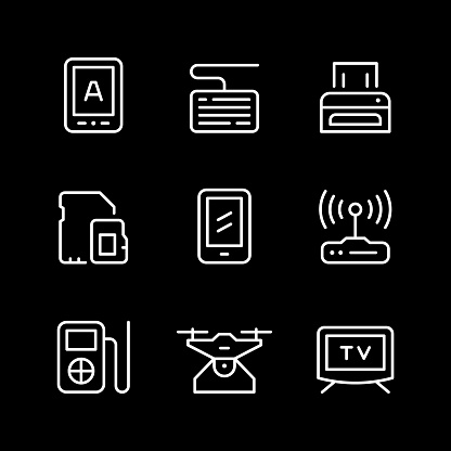 Set of 9 line icon