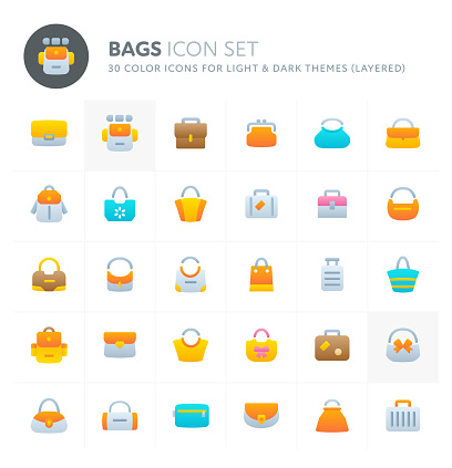 Bags Vector Icon Set. Fillio Color Icon Series.