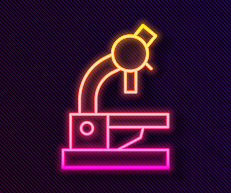 Glowing neon line Microscope icon isolated on black background. Chemistry, pharmaceutical instrument, microbiology magnifying tool. Vector