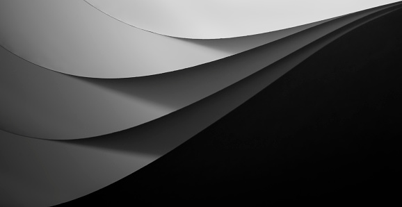 Black and white paper sheet waves