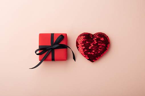 Red gift boxes with glitter heart