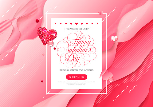 Valentine day love lettering web brochure