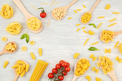 Flat lay with pasta