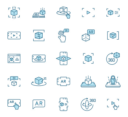 Augmented reality outline vector icons in two colors. AR and virtual reality 2 color line icon set for web design, mobile apps, ui design and print. Futuristic technology business concept