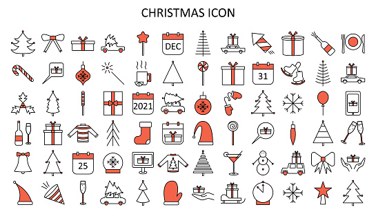Vector outline icon set with Christmas stuff: tree, toys, mistletoe,  candy cane, champagne, mittens, star, sweater, skates,snowflakes, bow.
