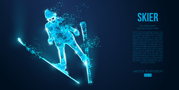 Sports man from particles on blue background