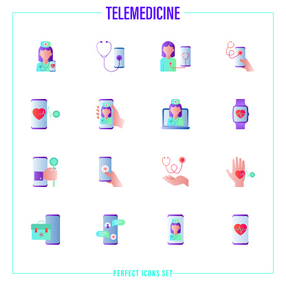 Telemedicine gradient flat icons set. Online consultation, non-contact diagnostics, medical mobile app, medical support, ask doctor, video call with therapist. Vector illustration.