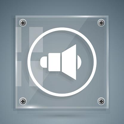 White Speaker volume, audio voice sound symbol, media music icon isolated on grey background. Square glass panels. Vector Illustration