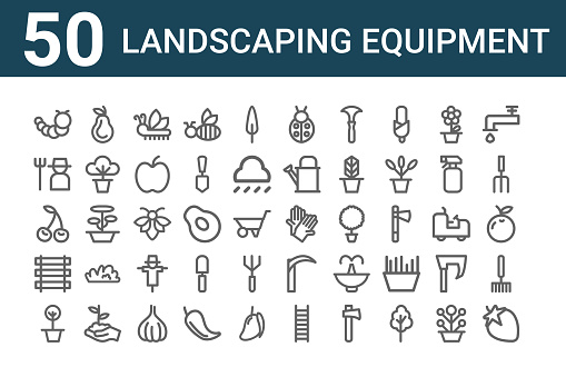 set of 50 landscaping equipment icons. outline thin line icons such as strawberry, pot, fence, cherry, gardener, pear, gloves, bug, bee, axe