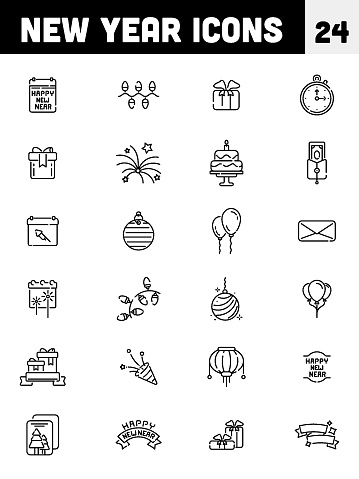 Black line art of New Year icon set.