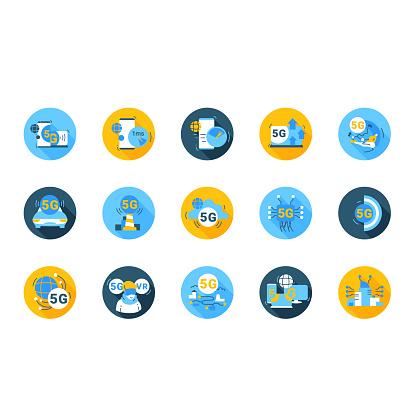 5G flat icons set