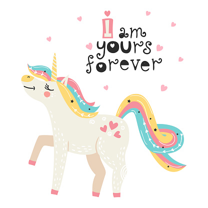 Cute poster with magical unicorn